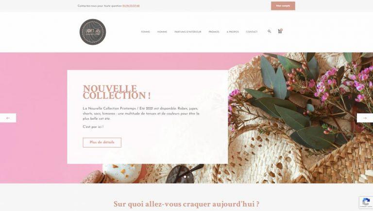 M42 - Création du site e-commerce Loft 45, homepage